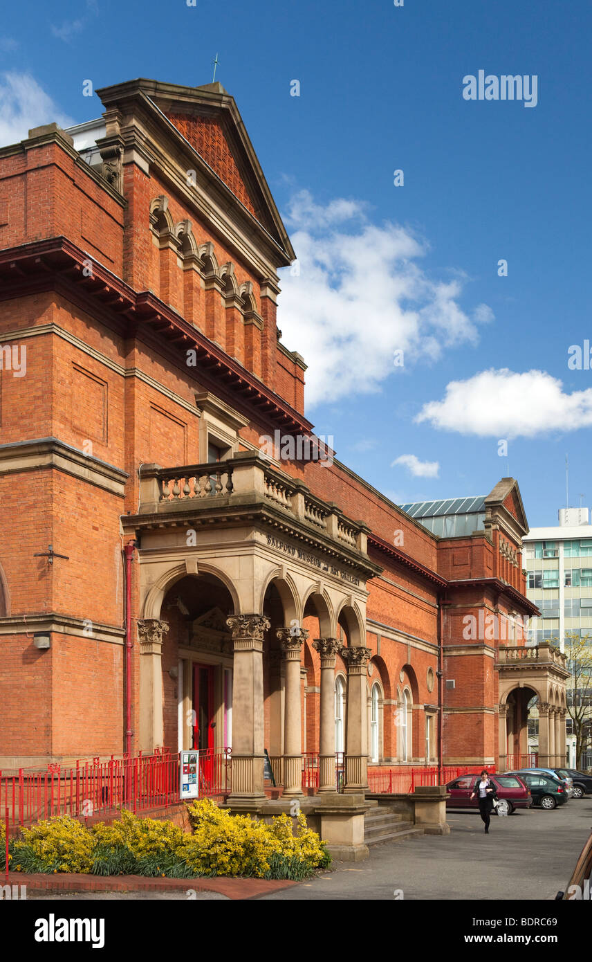 UK, England, Salford, The Crescent, City Museum and Art Gallery frontage - Stock Image