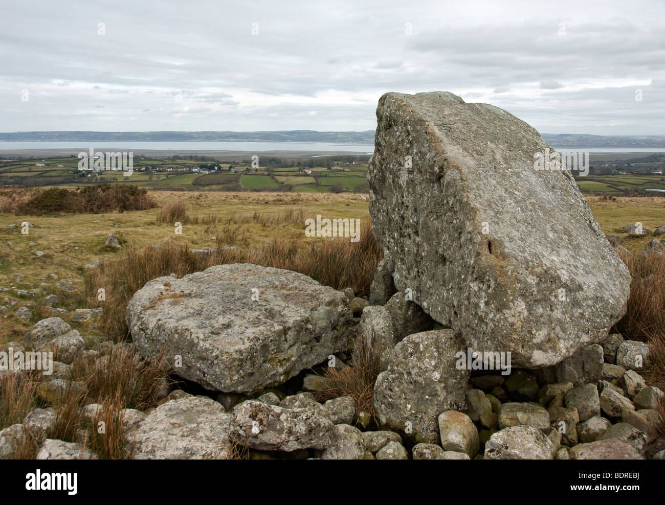 Arthur's Stone located near the summit of Cefn Bryn on the Gower Peninsula in South Wales - Stock Image