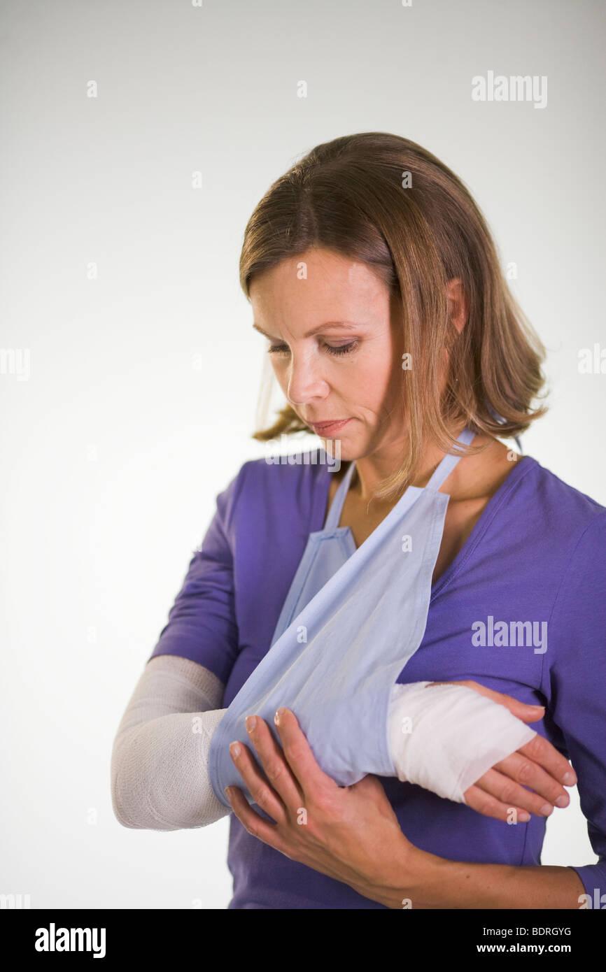 An injured woman. - Stock Image