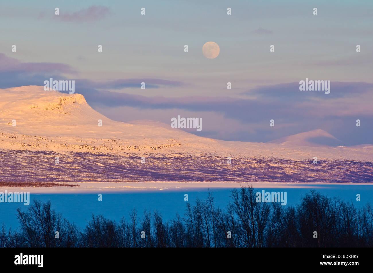 abendstimmung, stora sjoefallet national park, norrbotten, lappland, schweden, evening mood, lapland, sweden Stock Photo