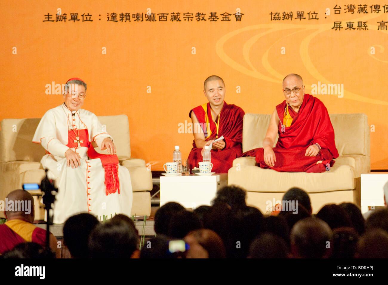 Dalai Lama and Cardinal Shan Kuo talk and pray for the victims of Typhoon Morakot, Kaohsiung City, Taiwan, September - Stock Image