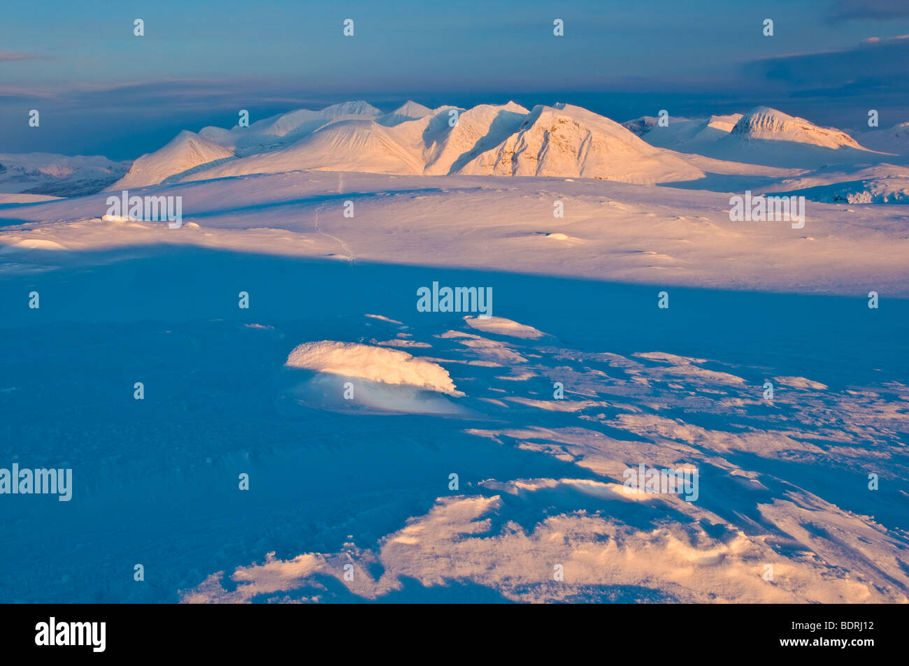 akka massif at sunset, lapland, sweden - Stock Image