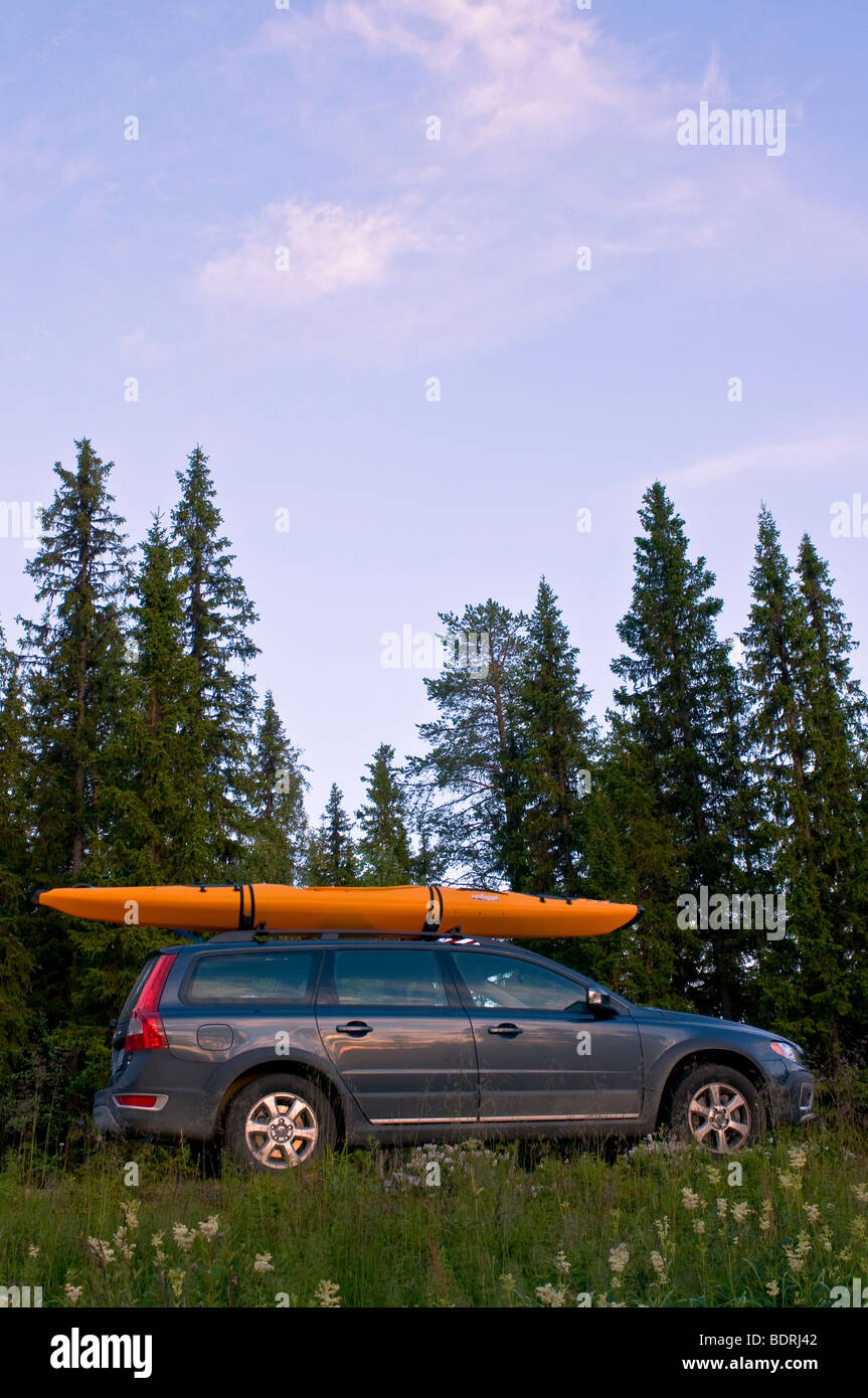 holliday with car kayak in sweden - Stock Image
