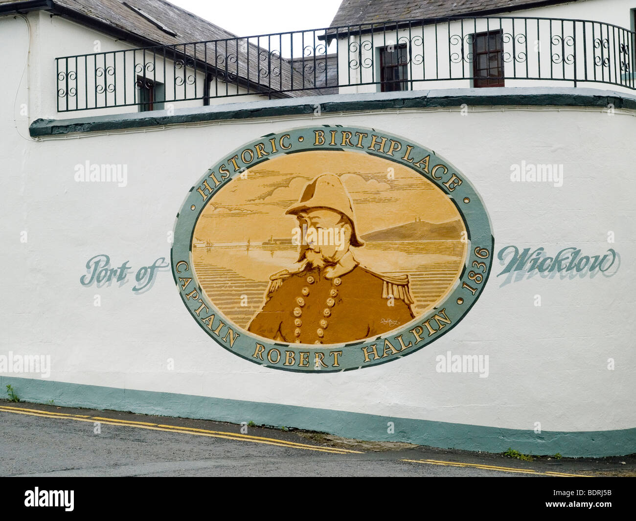 Painted mural in Wicklow, as the Historic Birthplace of Captain Robert Halpin, County Wicklow Ireland 2009 - Stock Image
