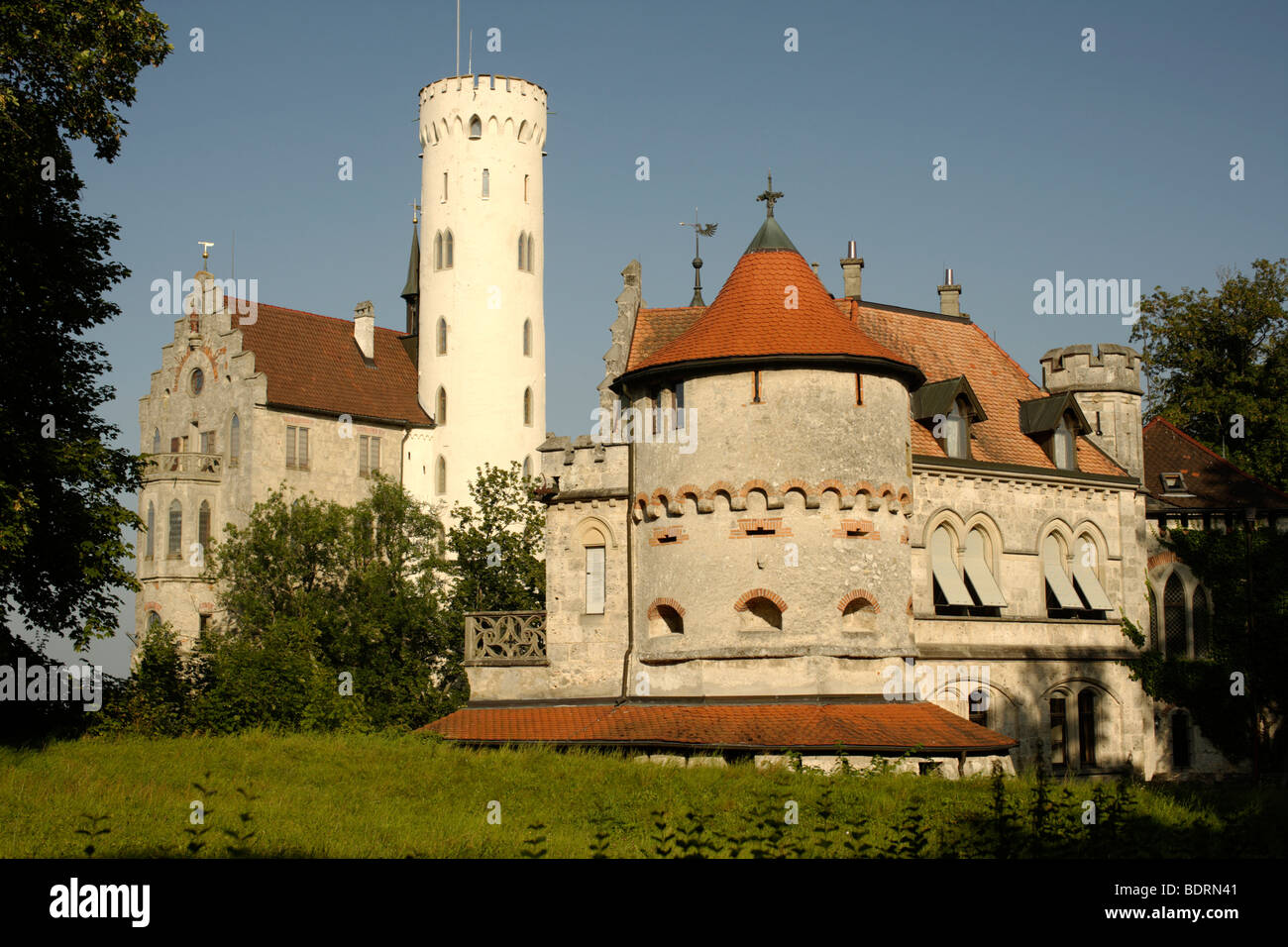 Lichtenstein Castle near Reutlingen, Swabian Alb, Baden-Wuerttemberg, Germany, Europe - Stock Image