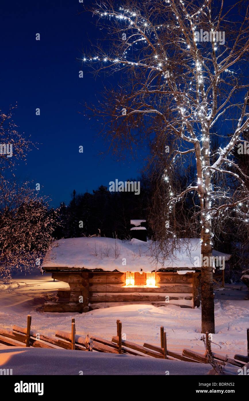 Cottage in a winterlandscape.Idre.Dalarna,Sweden - Stock Image