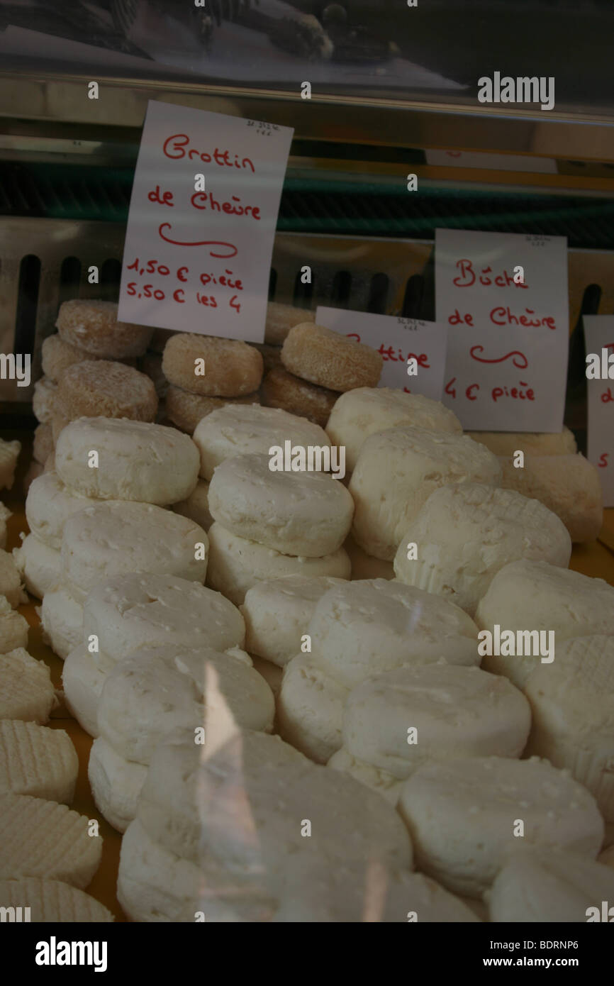 Crottin de chevre (goat cheese) sold at the weekly market in Lectoure, Gers - Stock Image