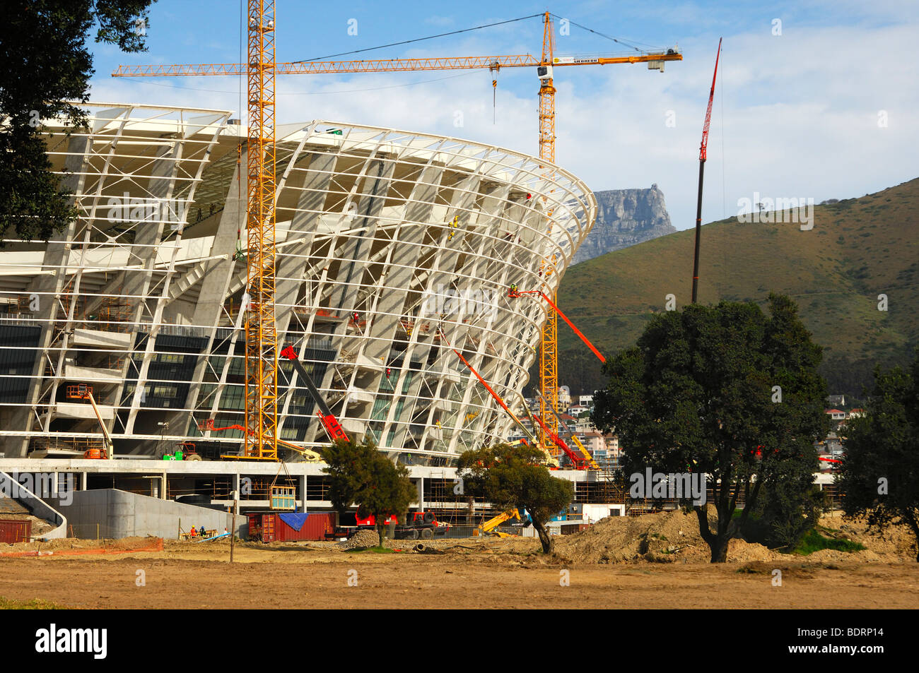 Soccer World Championship 2010, Greenpoint Soccer Stadium under construction, Cape Town, South Africa - Stock Image