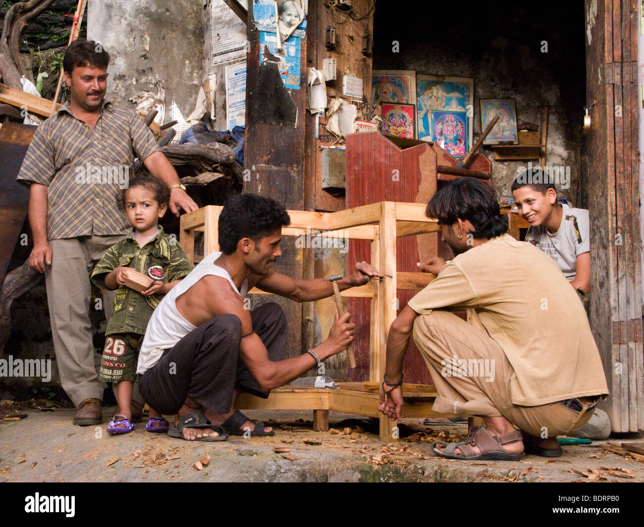 Indian carpenter making furniture / table frame. Chamba, Himachal Pradesh. India. - Stock Image
