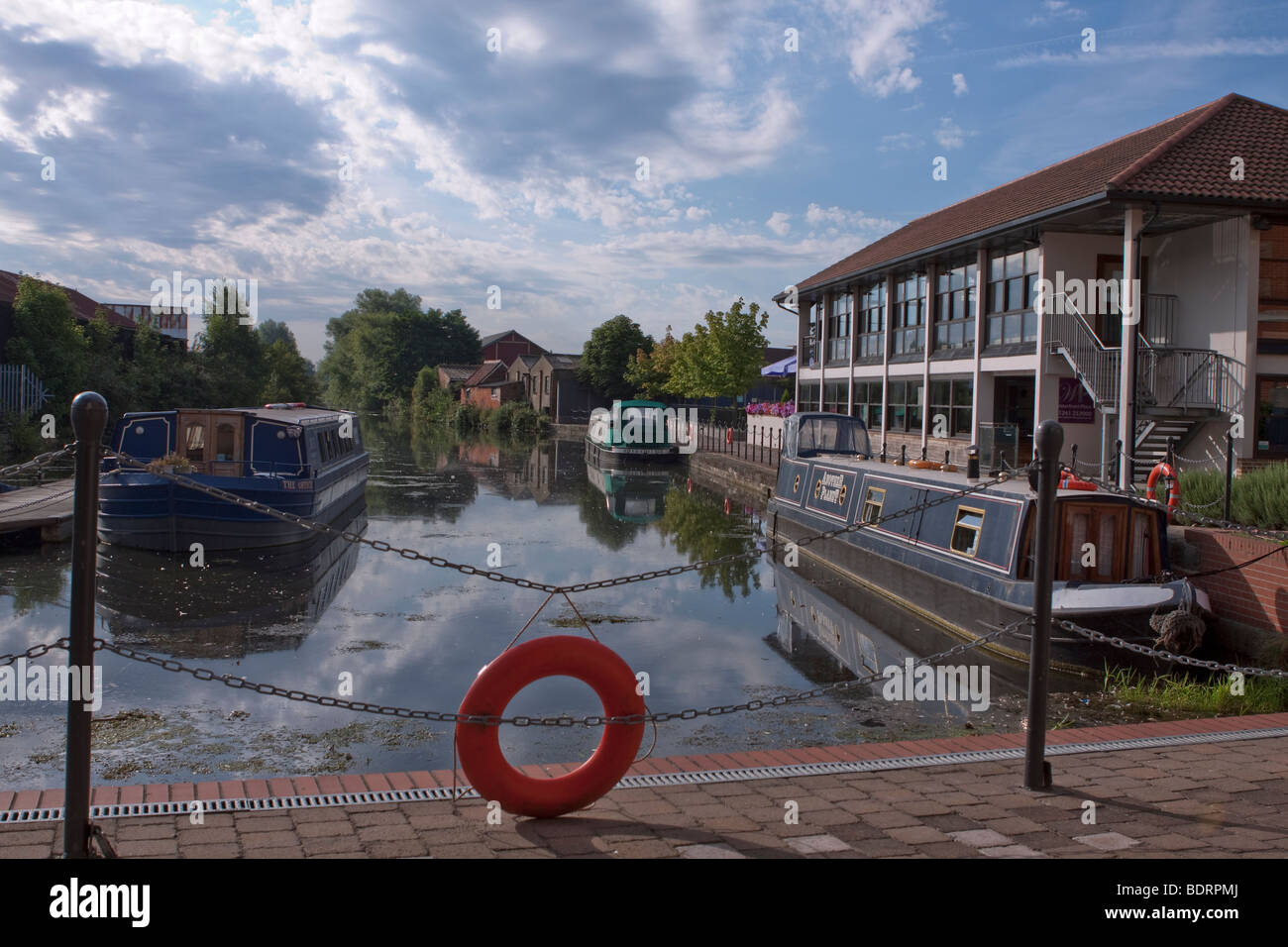Waterfront Restaurant and barges, Chelmsford, Essex, UK - Stock Image