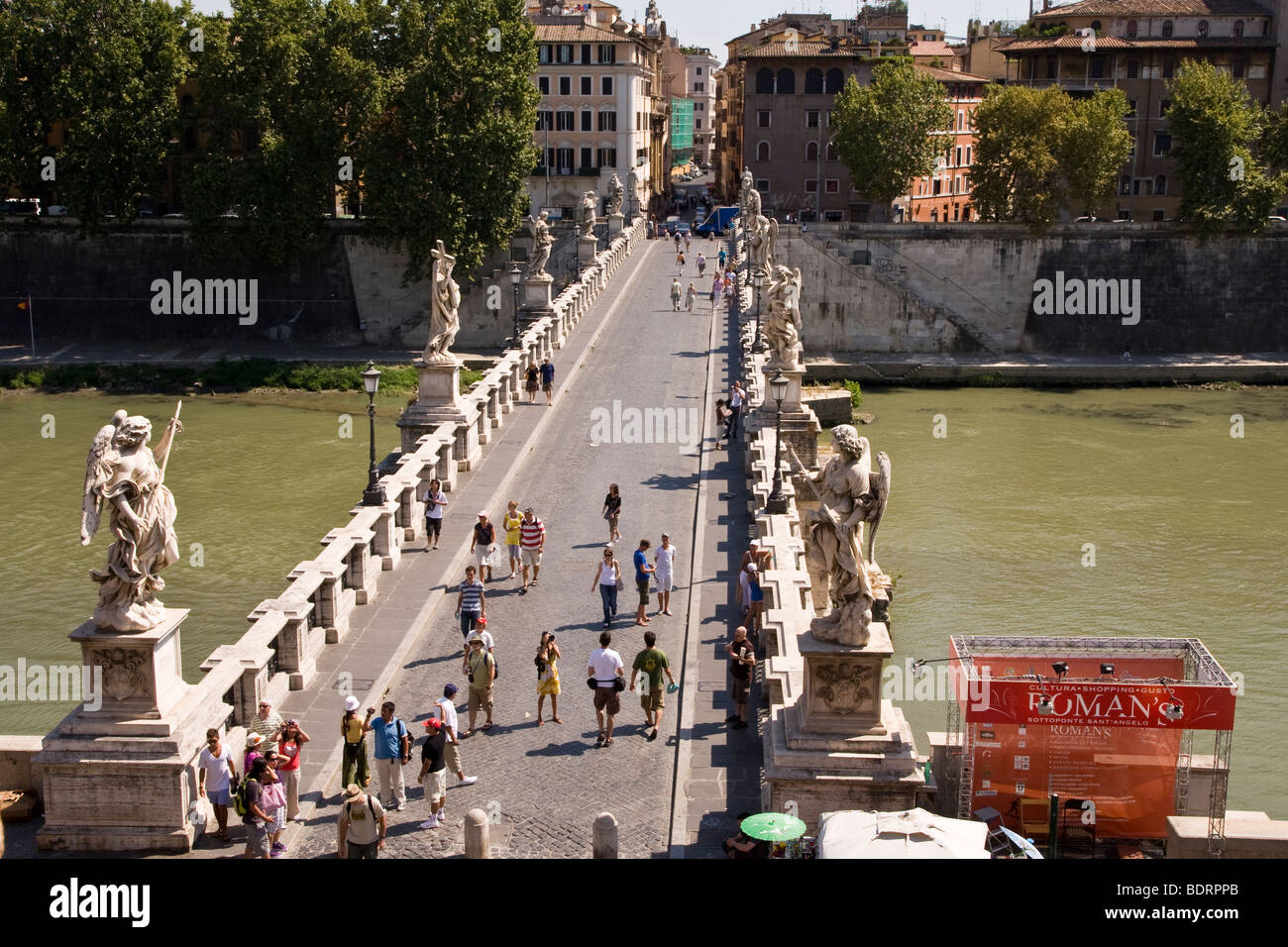 Ponte sant Angelo over the river Tiber in Rome Italy - Stock Image