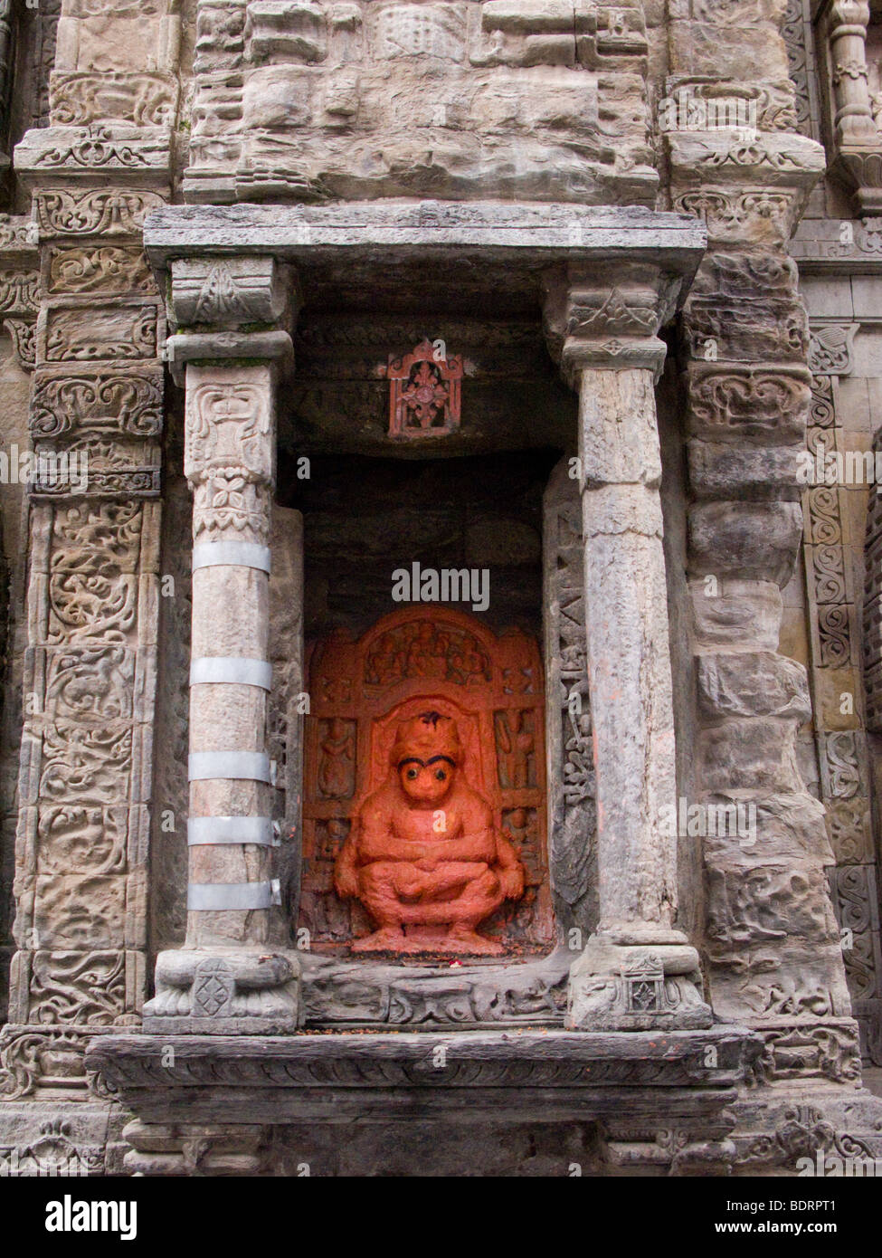 Monkey deity on the side of a Shikhara / Sikhara tower in the Laxmi Narayan Temple complex. Chamba, Himachal Pradesh. - Stock Image