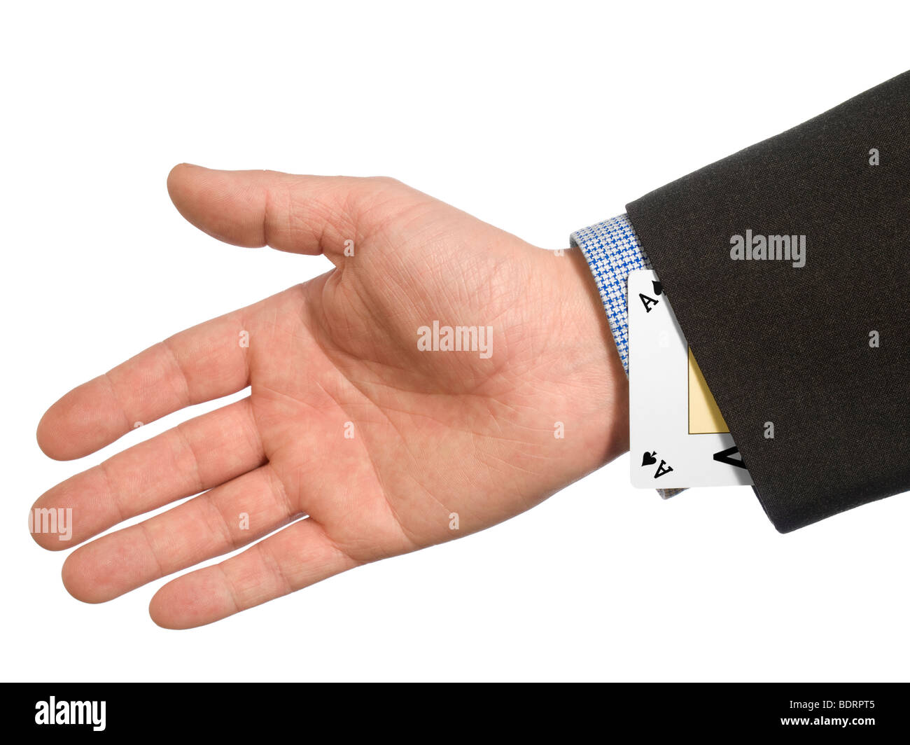 A man's hand hiding an ace up his sleeve. - Stock Image