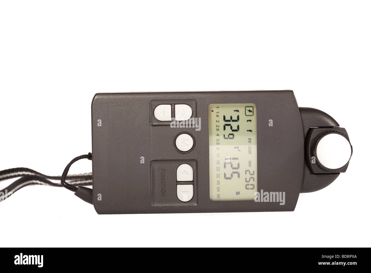 Photographic Light Meter showing f32.9 and shutter speed of 1/125th second - Stock Image