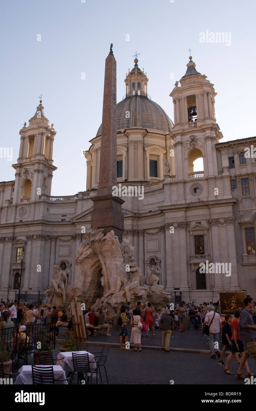 Piazza Navonna in Rome Italy - Stock Image
