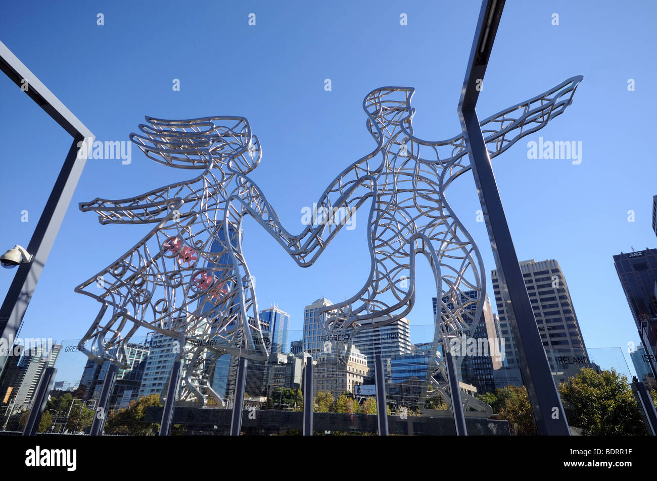 Symbolic art work metal sculptures Sandridge Immigration Bridge over Yarra River Melbourne Australia - Stock Image