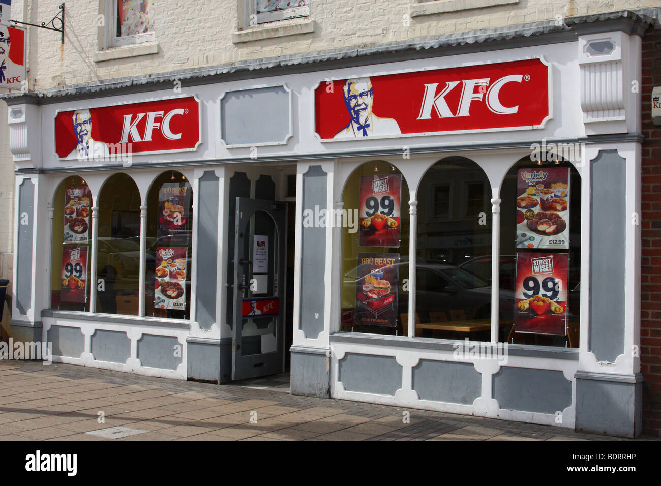A KFC restaurant in a U.K. town. - Stock Image