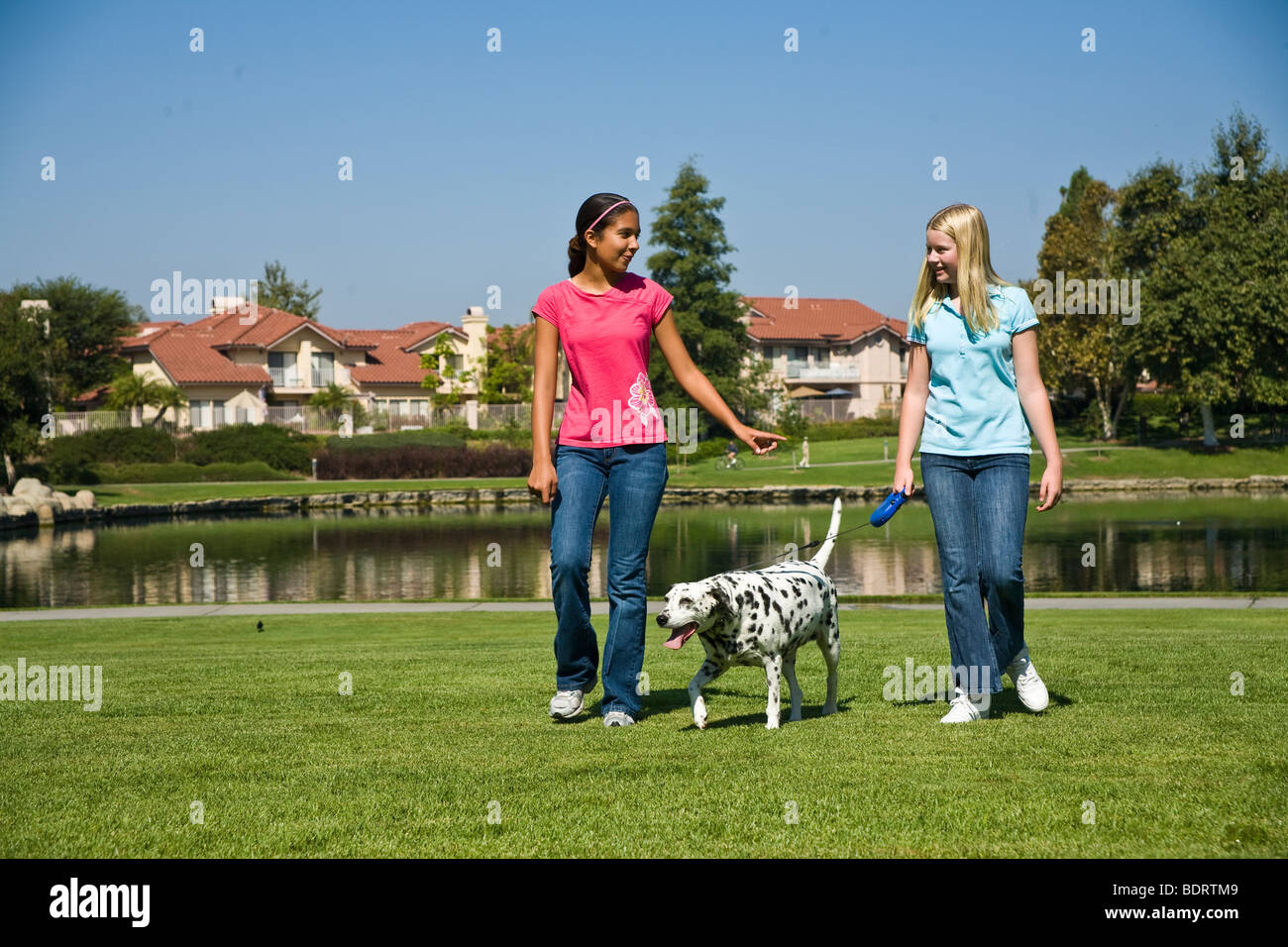 hanging out racially mixed racial mix Multi ethnic Hispanic and Caucasian teenage girls walking Tween tweens talking.dog - Stock Image
