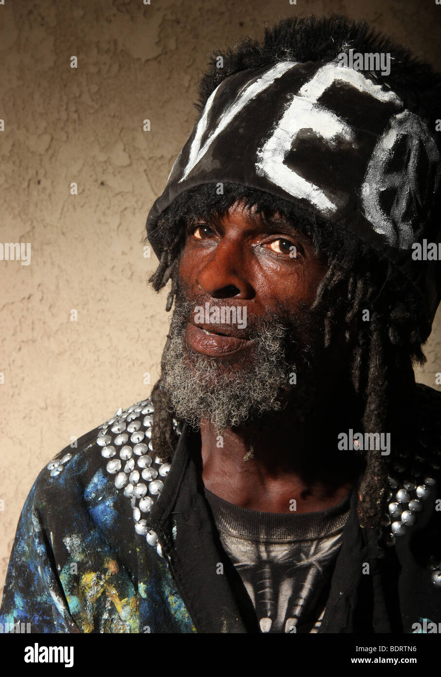 Stark Portrait of a Transient Homeless African American Man With Dredlocks - Stock Image