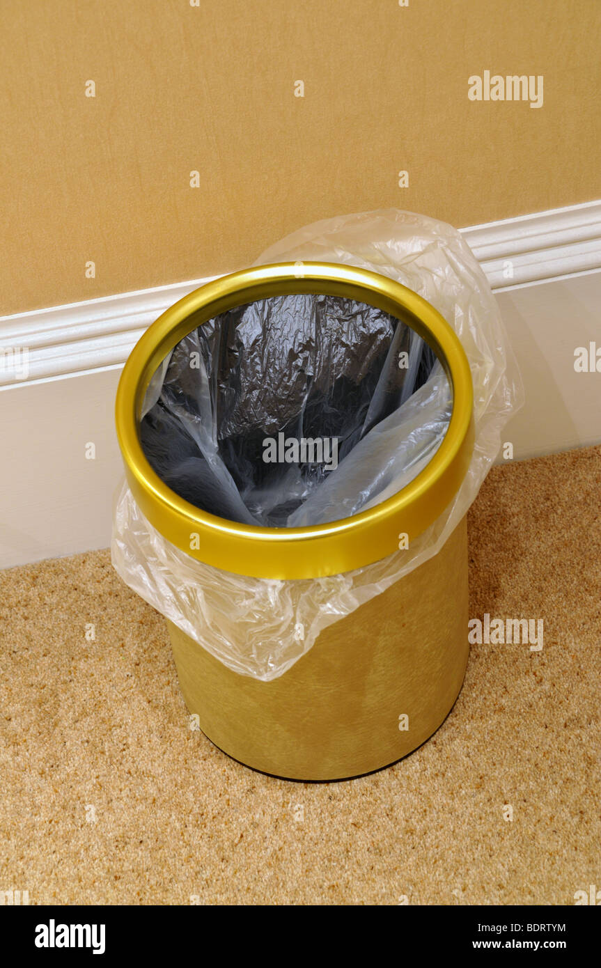 A Bedroom Waste Paper Basket Bin With Liner Stock Photo Alamy