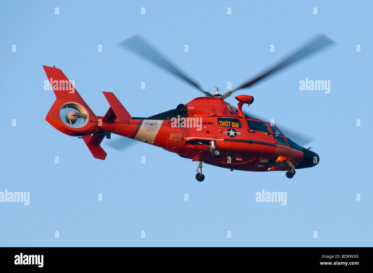A United States Coast Guard HH-65 Dolphin, MEDEVAC-capable, Search and Rescue (SAR) helicopter. - Stock Image