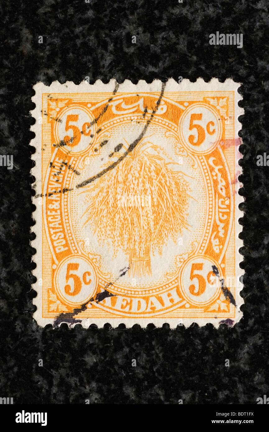 Postage stamp Kedah, 5c - Stock Image