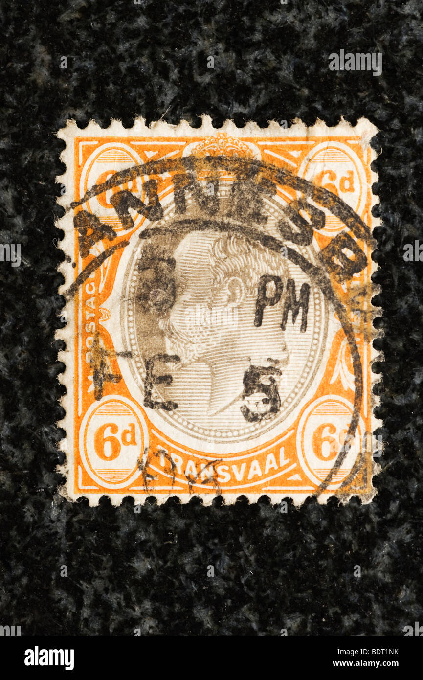 Postage stamp Transvaal, 6 pence - Stock Image