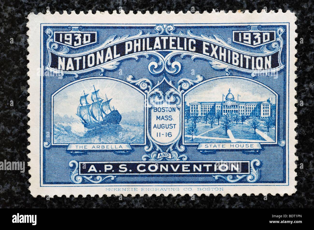 1930 National Philatelic Exhibition stamp - Stock Image