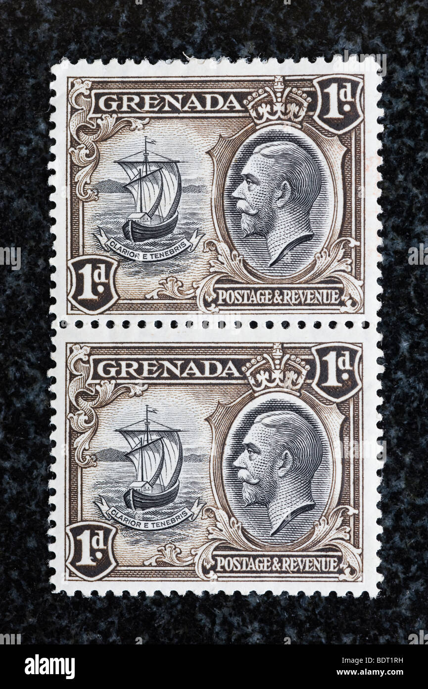 Matching pair postage stamps, Grenada, one penny - Stock Image