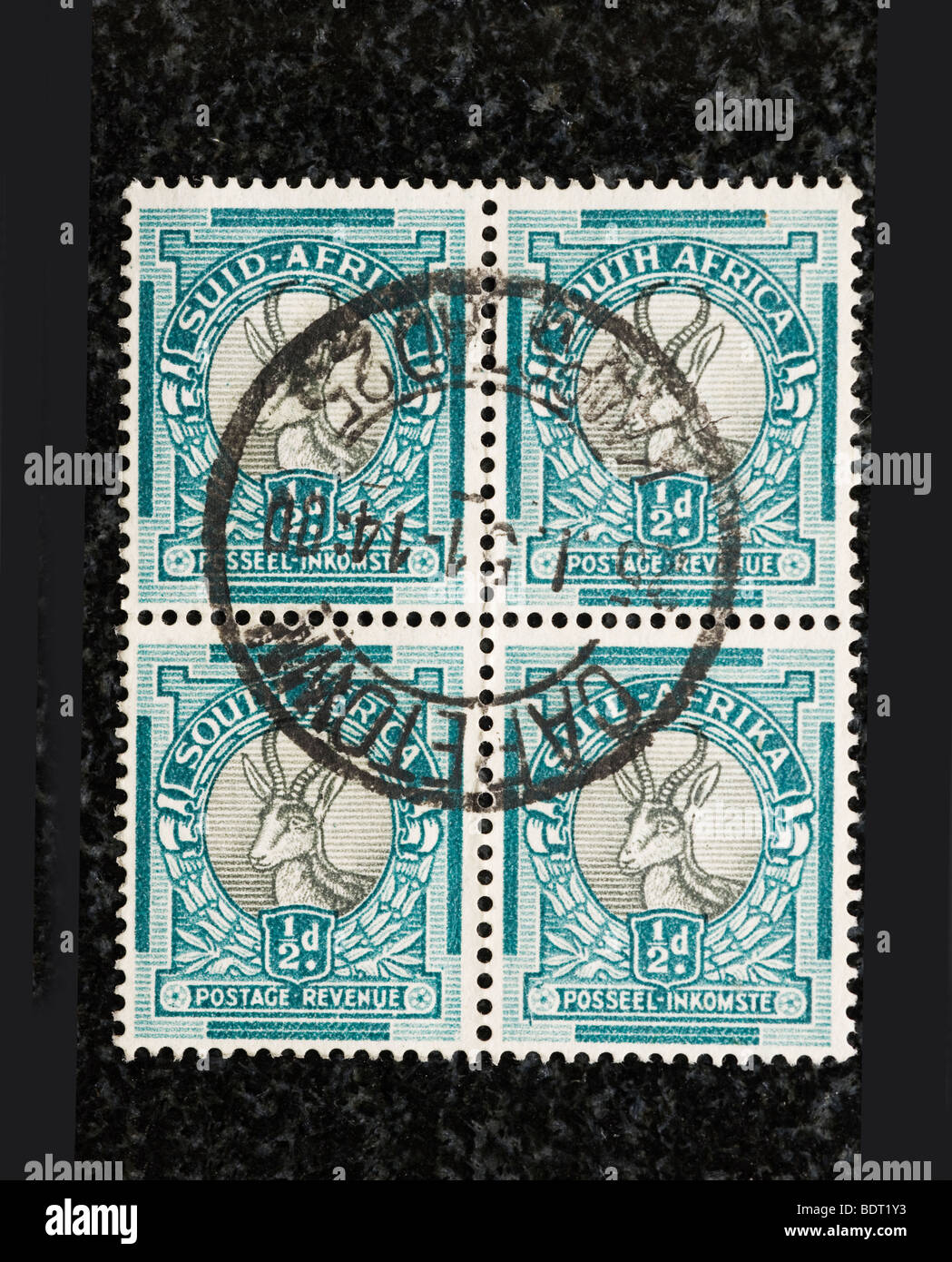 Block of South Africa postage stamps, Half Penny - Stock Image