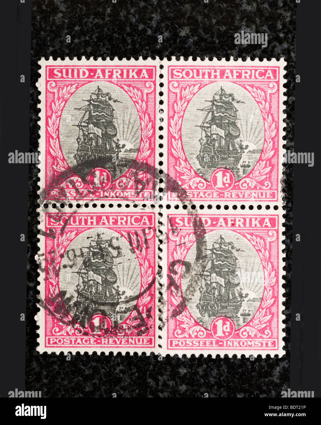 Block of South Africa postage stamps, One Penny - Stock Image