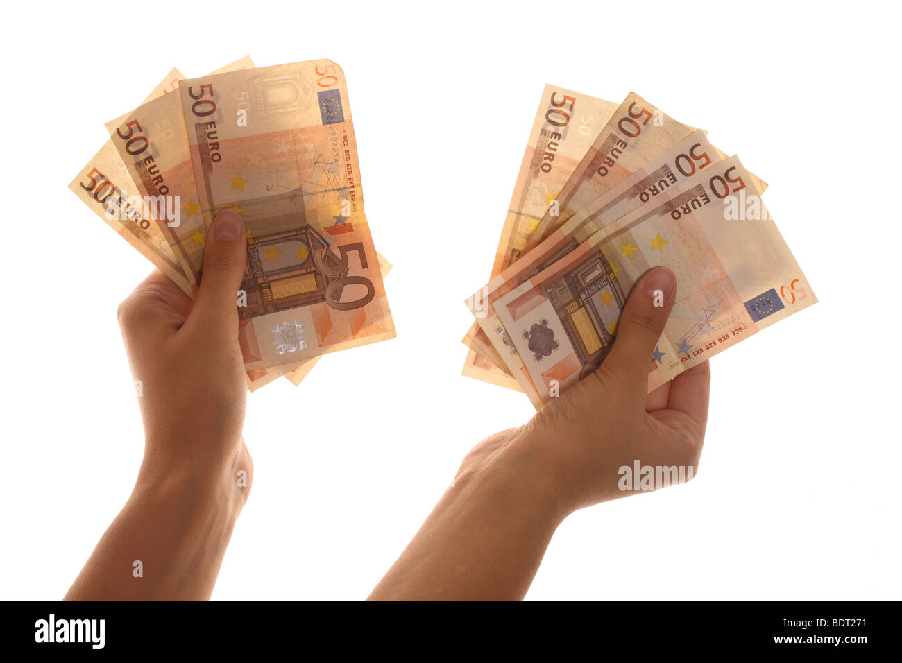 a female hand holding euro banknotes - Stock Image