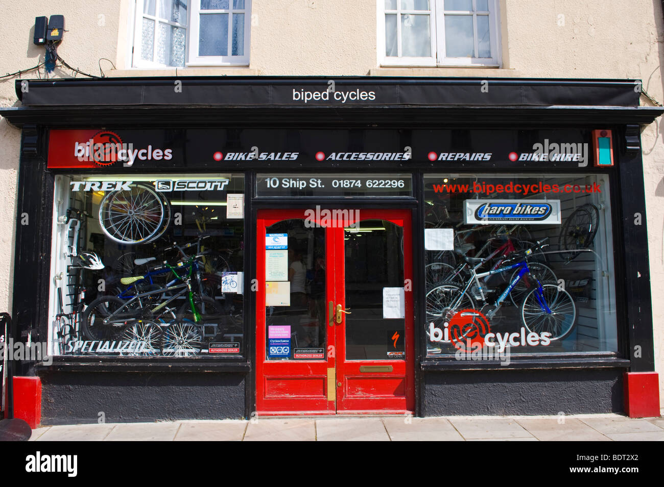 Exterior frontage of bicycle shop in Brecon Powys Wales UK - Stock Image