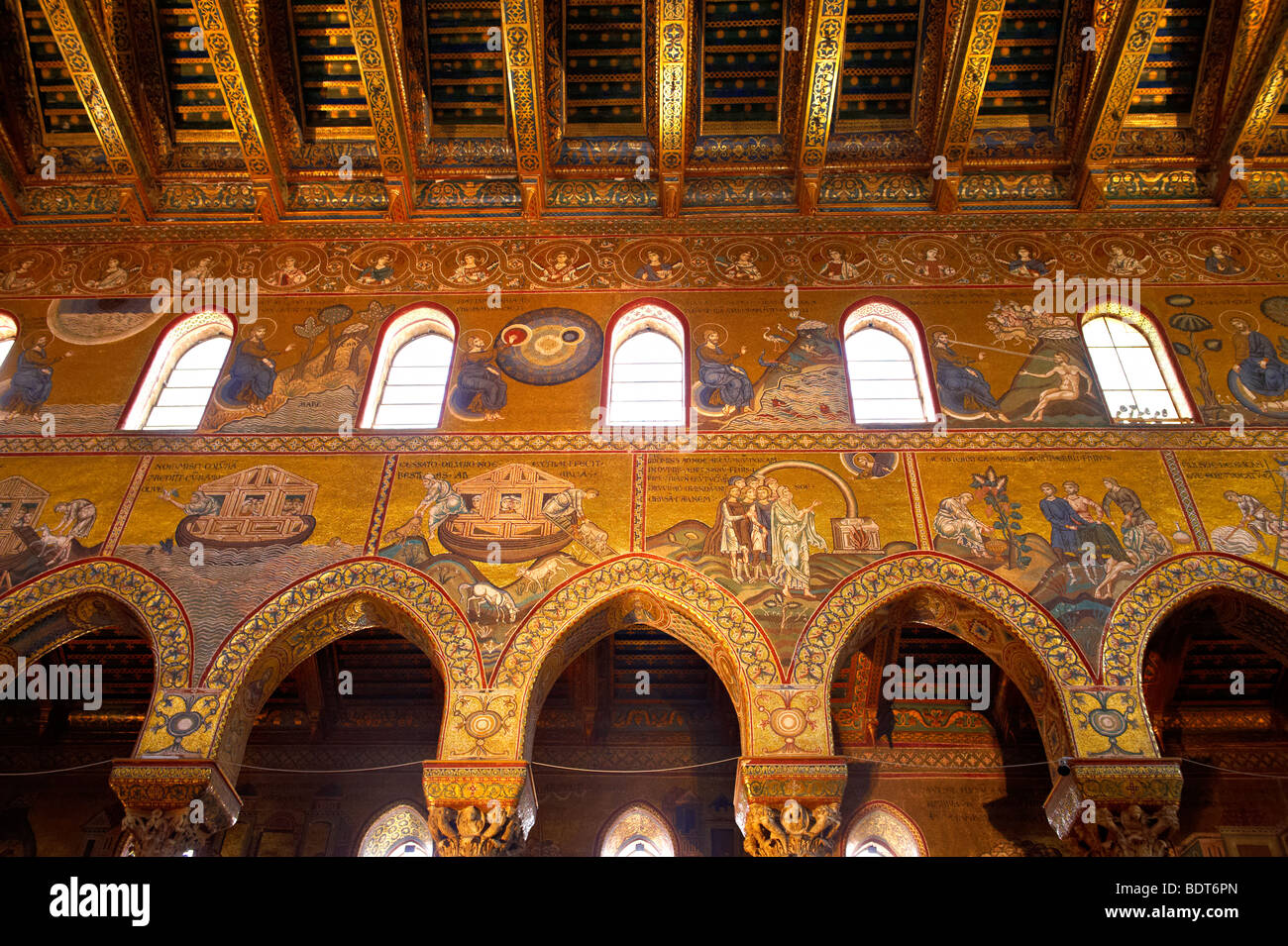 Byzantine mosaics depicting scenes from the Bible in the Cathedral of Monreale - Palermo - Sicily - Stock Image