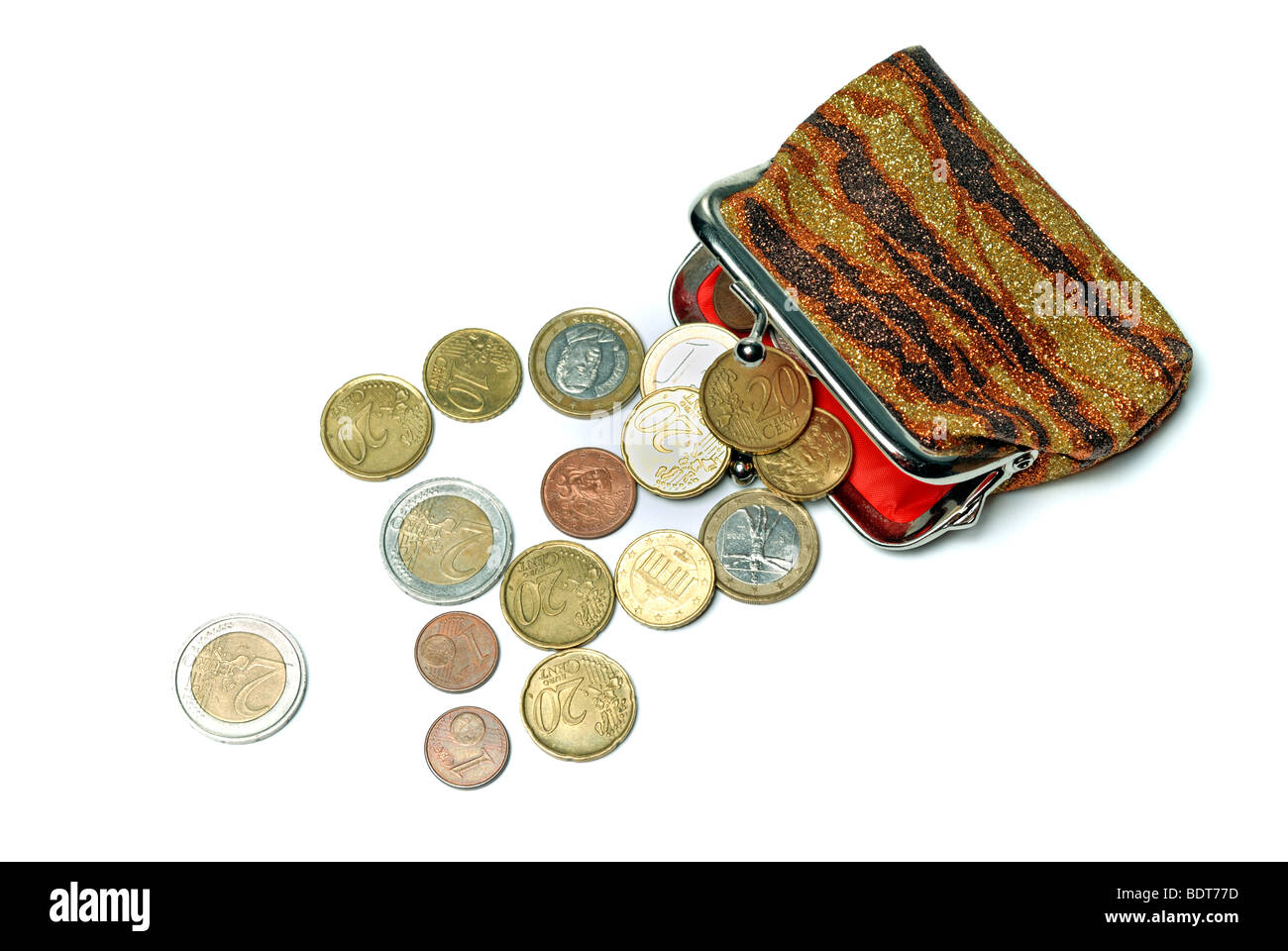 Purse and euro coins isolated on white background - Stock Image