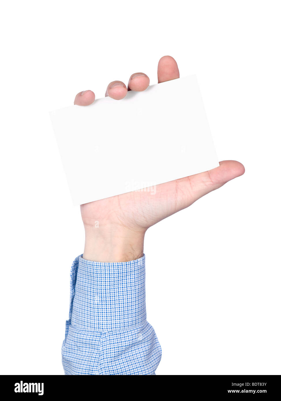 Blank card in human hand, isolated on white. - Stock Image