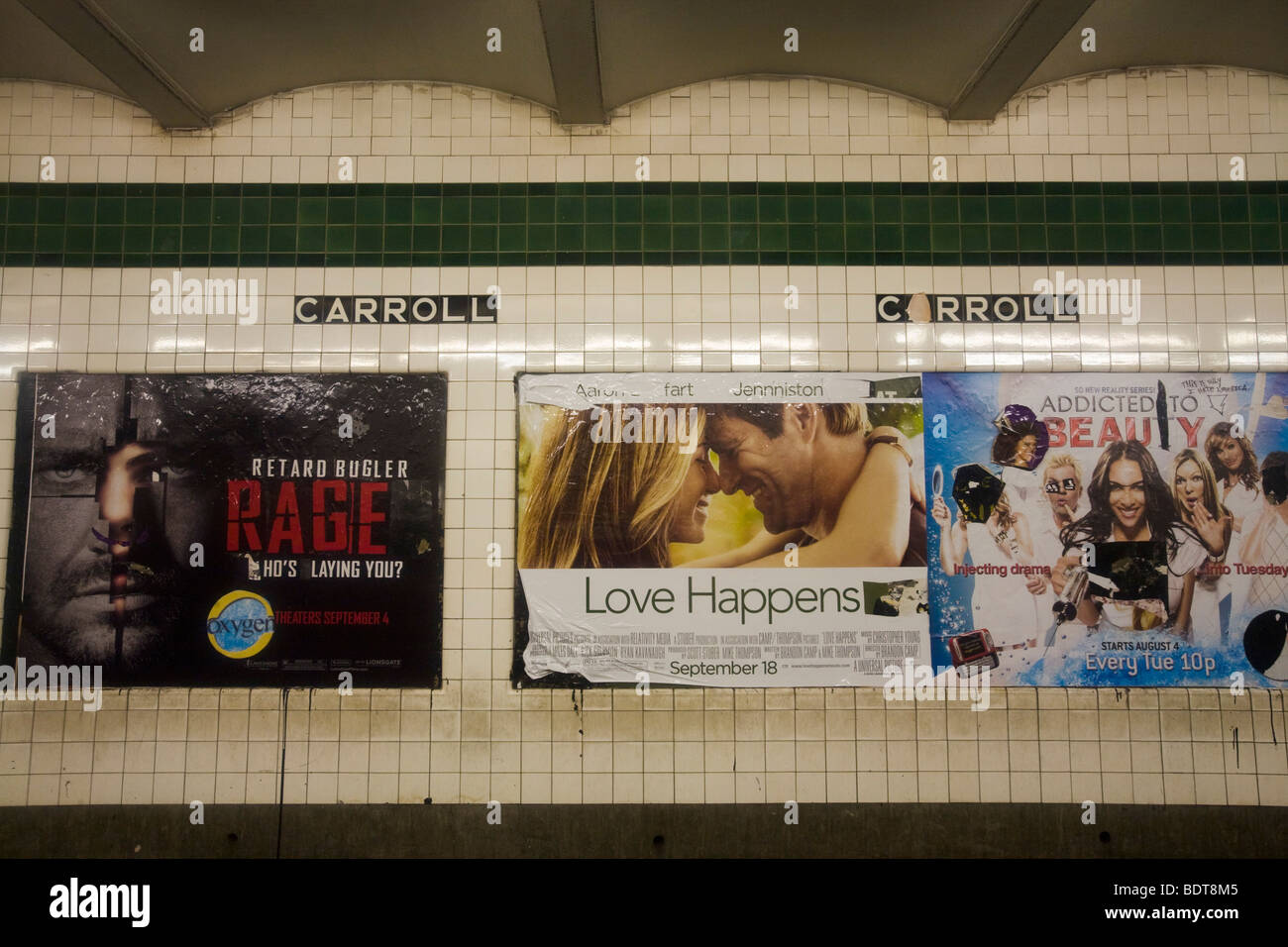 Subway ads, Brooklyn, New York, United States of America - Stock Image
