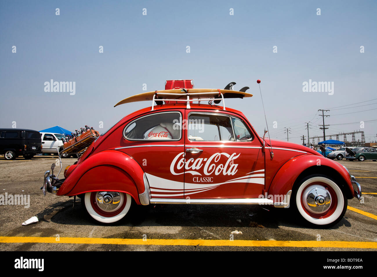 VW Beetle with Coca Cola logo, Pomona Swap Meet for the antique auto enthusiast, - Stock Image