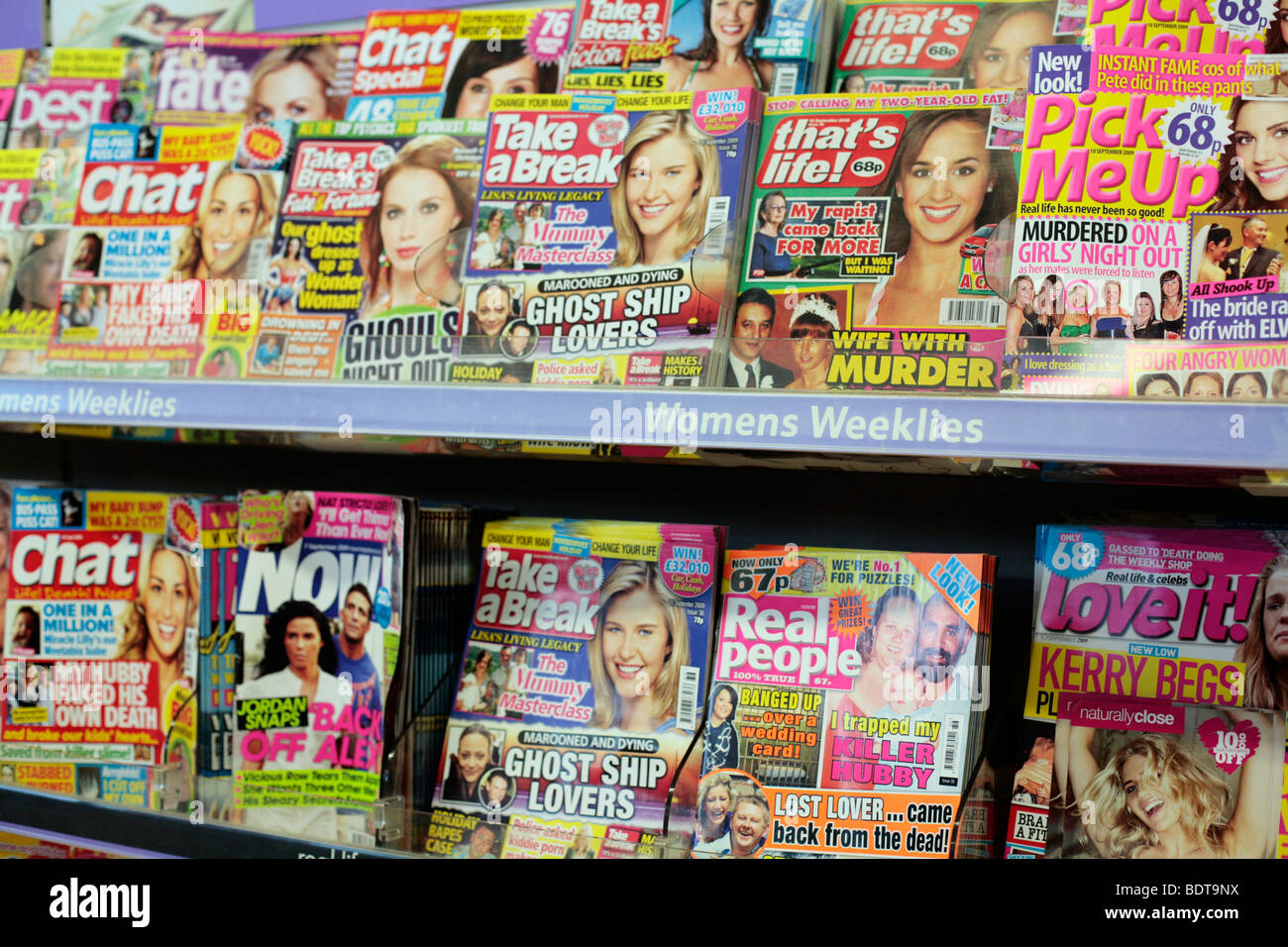 Celebrity gossip / real life magazines on sale in Tesco. - Stock Image