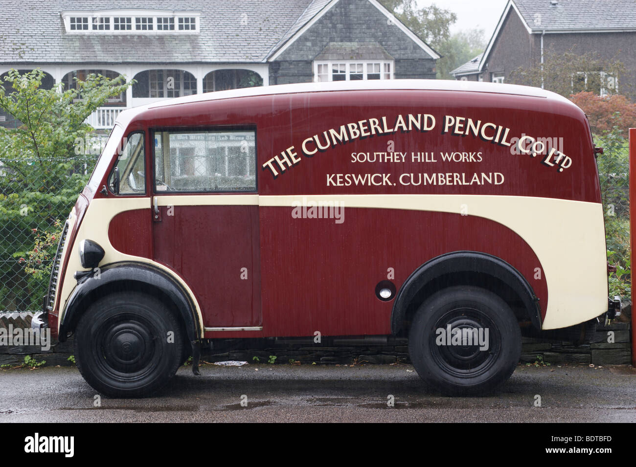 Morris  J-Type Van at the Cumberland Pencil Museum, Keswick, Lake District National Park, Cumbria, England - Stock Image