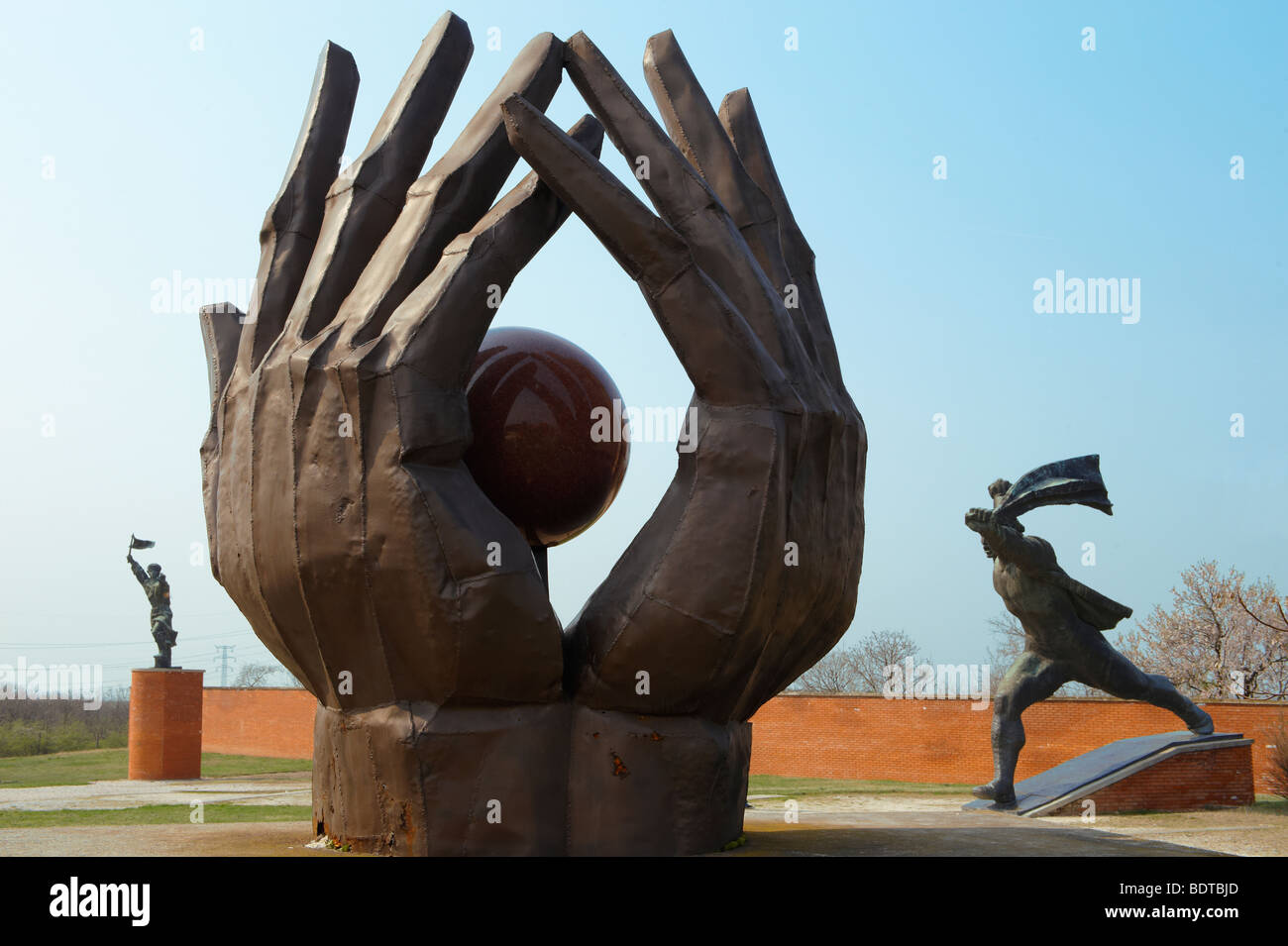 Statue in the Memento Sculpture Park - Communist Sculptures museum - Budapest - Hungary - Stock Image