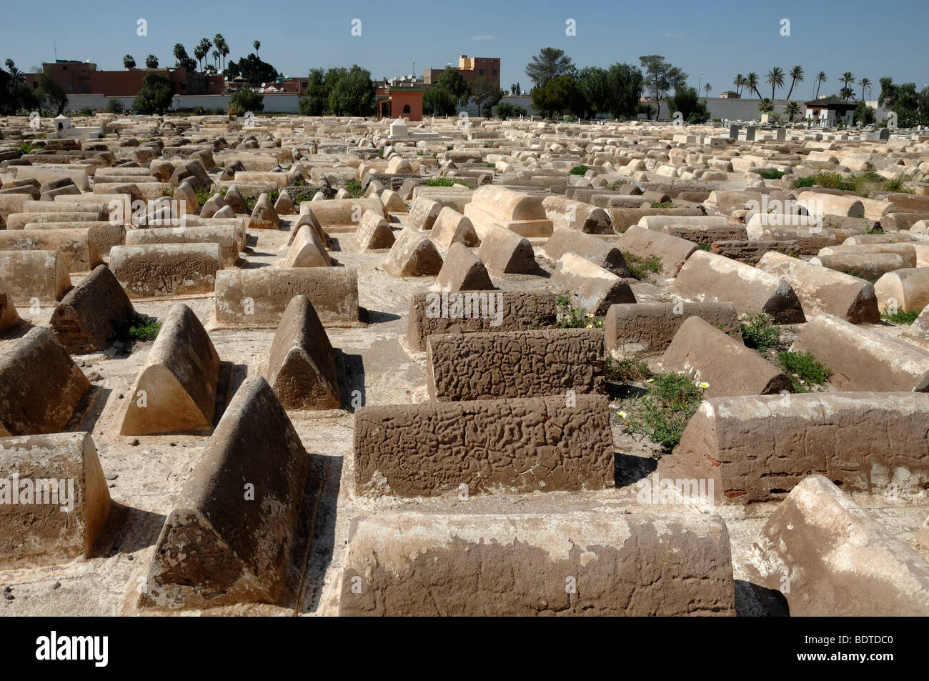 Graves, Tombs or Tombstones in the Jewish Cemetery Mellah Marrakesh Morocco - Stock Image