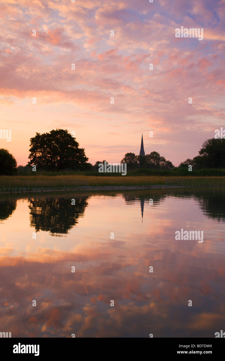 Salisbury Cathedral spire and dawn sky reflected in a pond, Salisbury, Wiltshire, England. Summer (June) 2009. - Stock Image
