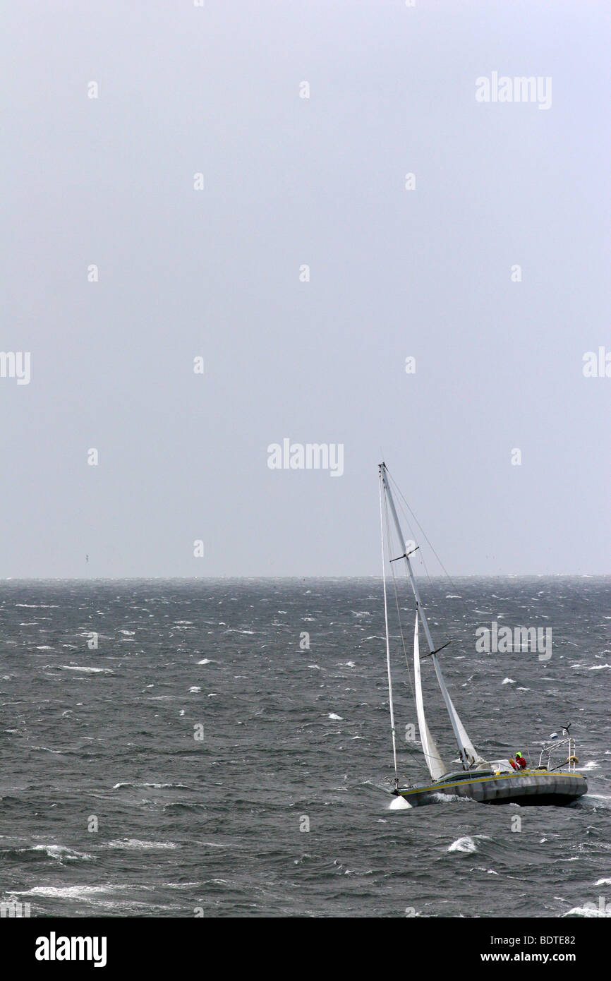 Lone yachtsman off Cape Horn, Chile - Stock Image