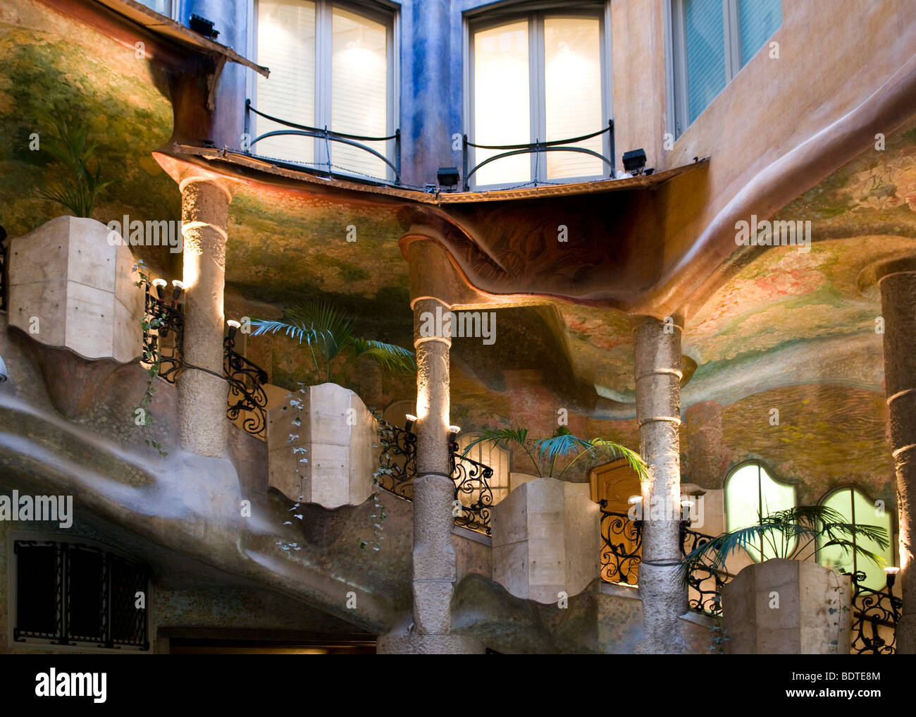 Stairs in a courtyard inside La Pedrera also known as Casa Mila in ...