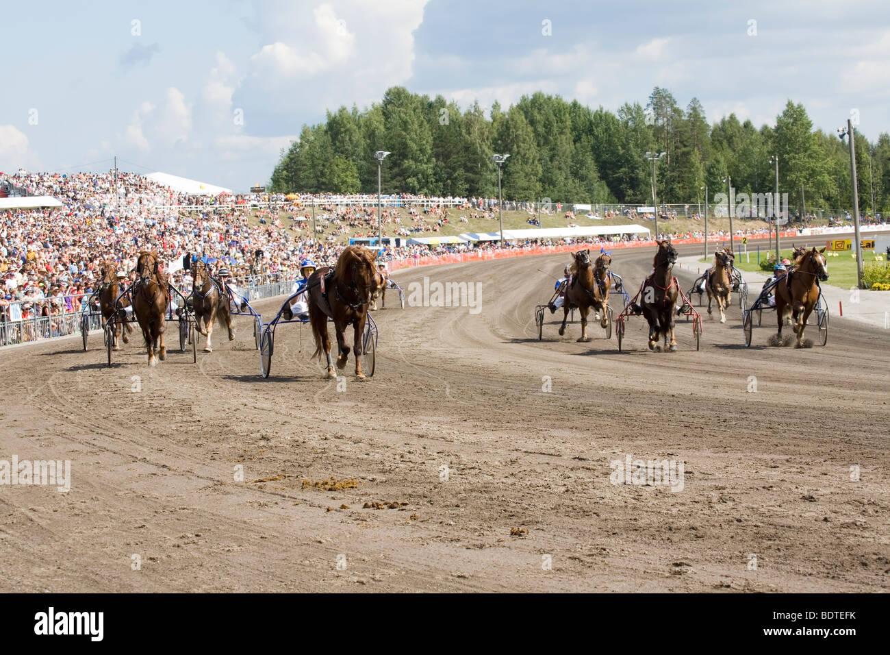 trotting race Lappeenranta Finland - Stock Image