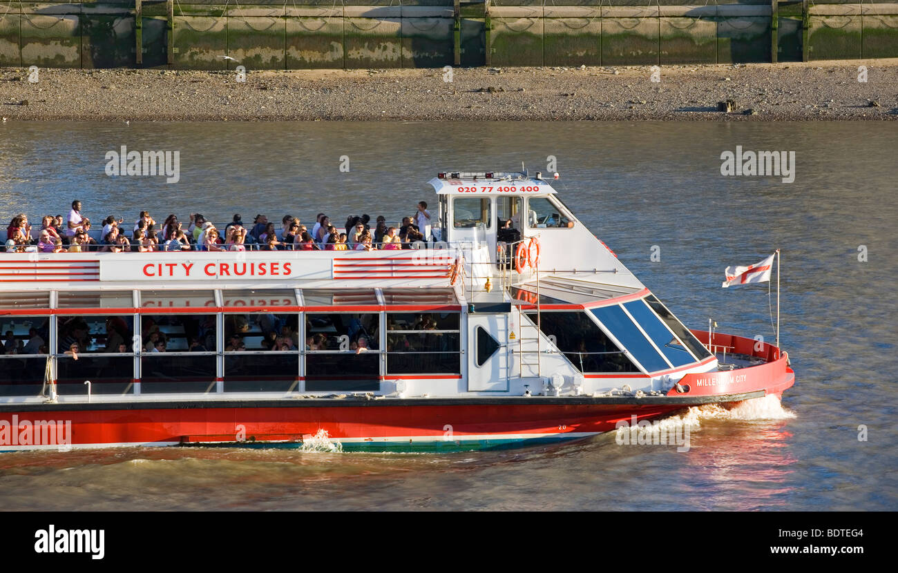 City Cruises River Thames London boat, London, England, UK - Stock Image