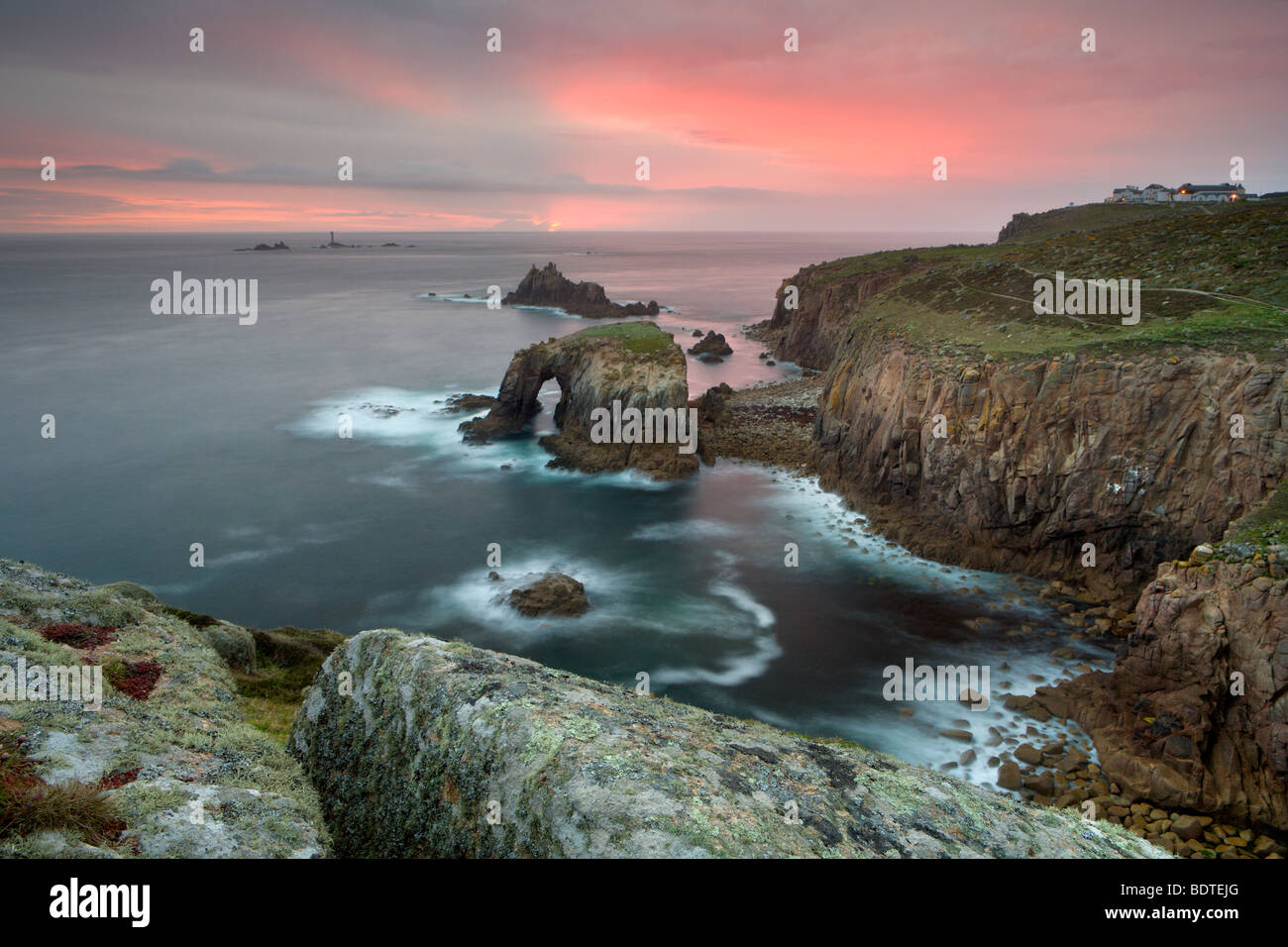 Clifftops of Land's End in Cornwall, England. Spring (May) 2006 - Stock Image