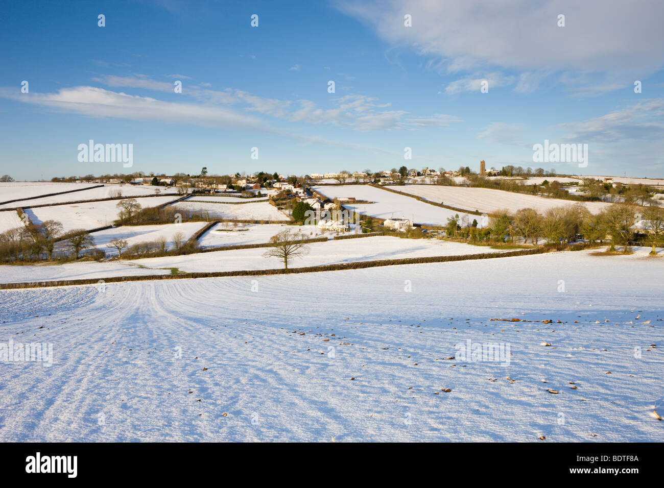 Mid Devon village of Morchard Bishop covered in snow. Winter (February) 2009 - Stock Image