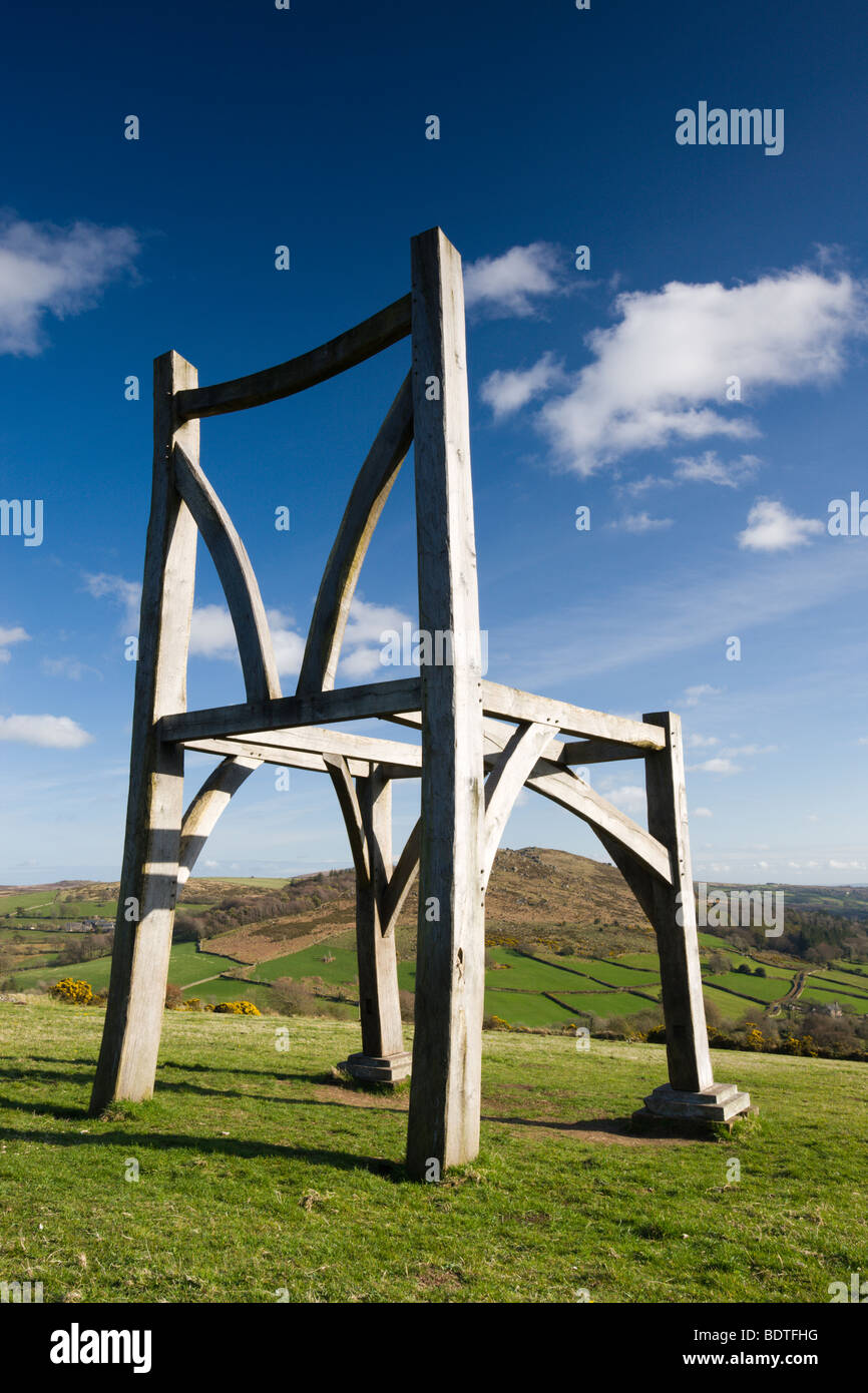 The Giants Chair of Natsworthy, Dartmoor National Park, Devon, England. Spring (April) 2009 - Stock Image
